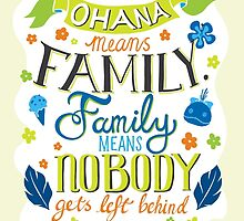Lilo and Stitch Ohana Typography Quote by ploveprints