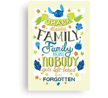 Lilo and Stitch Ohana Typography Quote Canvas Print