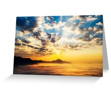 Sea of clouds on sunrise Greeting Card