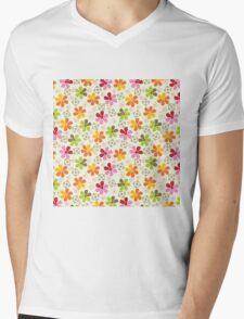 Floral Pattern Mens V-Neck T-Shirt