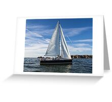 A sail boat off Alderney  Greeting Card