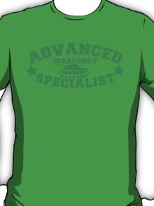 Advanced Weaponry Specialist with green army tank T-Shirt