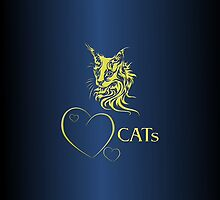 "I-pad case ""Catlovers"" Golden Chromium edit by scatharis"