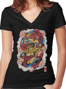 Skull and Snakes Women's Fitted V-Neck T-Shirt