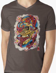 Skull and Snakes Mens V-Neck T-Shirt