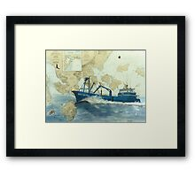 AK King Crab Boat SIBERIAN SEA Nautical Map Cathy Peek Framed Print