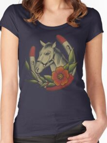 Traditional Horse and Horse Shoe Women's Fitted Scoop T-Shirt