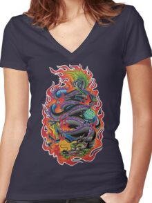 Fire Dragon Women's Fitted V-Neck T-Shirt