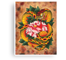 Snake and Peony Flower Canvas Print