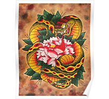 Snake and Peony Flower Poster
