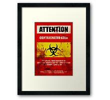 Attention Biohazard - Smeared Framed Print