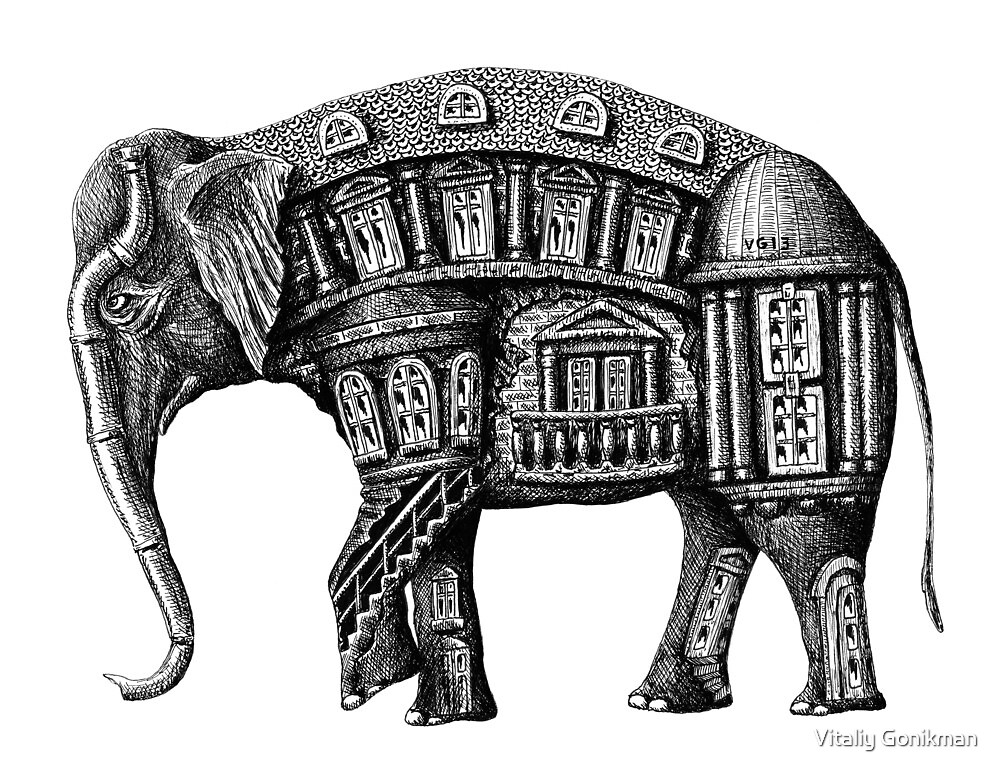 Elephant Building surreal pen ink black and white drawing by Vitaliy Gonikman