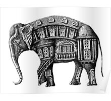 Elephant Building surreal pen ink black and white drawing Poster