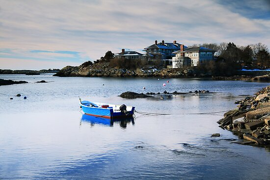 Blue Boat on a White Winter Cove by Roupen  Baker