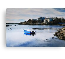 Blue Boat on a White Winter Cove Canvas Print