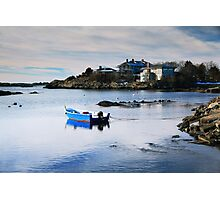 Blue Boat on a White Winter Cove Photographic Print