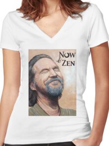 The Dude Now & Zen Women's Fitted V-Neck T-Shirt