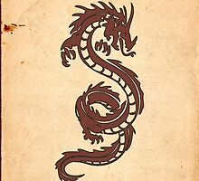Chinese Mythology Dragon, Old Paper - Red Orange by sitnica