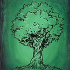 Solitary Tree in Green by JohnnyGolden