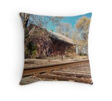 Abandoned Railroad Station Throw Pillow