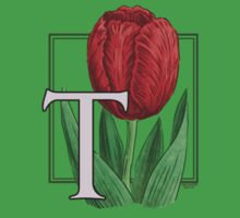 T is for Tulip - patch One Piece - Short Sleeve