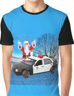 HO HO HOLD ON SEASONS GREETING HUMEROUS POLICE SANTA PILLOW AND OR TOTE BAG Graphic T-Shirt