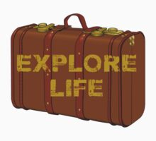 explore life old suitcase vacation tee  Baby Tee