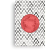 Red Dot on Chevron Watercolor Pattern  Canvas Print