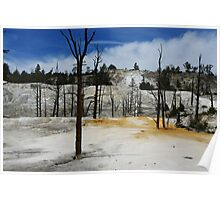 Incredible colors of Mammoth Terraces, Yellowstone Poster