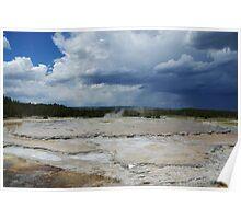 Mud pool and gray skies, Yellowstone Poster