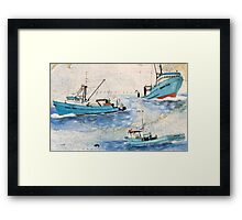 Fury Fishing Boat Fleet AK Chart Cathy Peek Art Framed Print