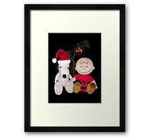 SNOOPY & CHARLIE BROWN FESTIVE CHRISTMAS-JOURNAL.. PICTURE AND OR CARD ECT Framed Print