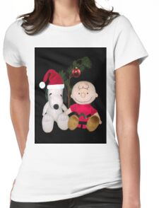 SNOOPY & CHARLIE BROWN FESTIVE CHRISTMAS-JOURNAL.. PICTURE AND OR CARD ECT Womens Fitted T-Shirt