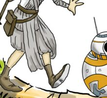bb-8 and rey calvin and hobbes Sticker
