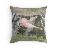 woke with a fright Night Heron Throw Pillow
