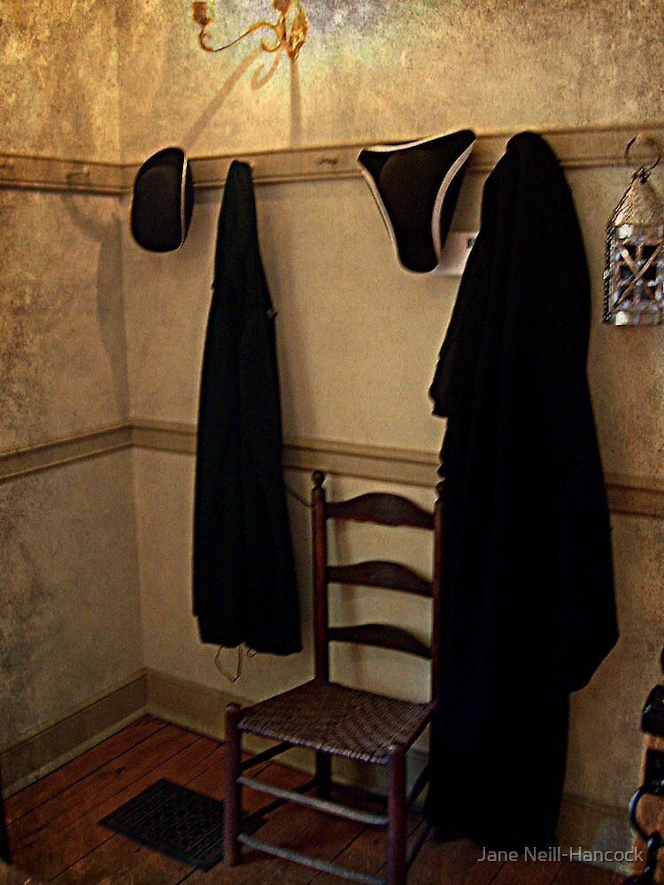 Colonial Hats and Cloaks Hanging in the Tavern by Jane Neill-Hancock