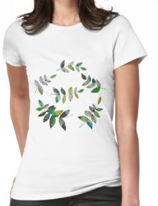 Watercolor Leaves Womens Fitted T-Shirt