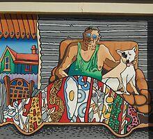 Broken Hill mural by Geoff De Main, l by Heather Dart
