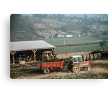 Farmer taking manure from animal shed Les Hazons 198402150015 Canvas Print