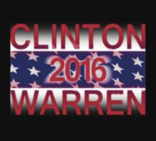 Clinton / Warren 2016 (with white underlay for dark background) by portispolitics