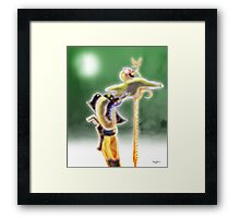 Robot Woman leaning on Sword Framed Print