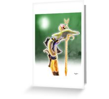 Robot Woman leaning on Sword Greeting Card