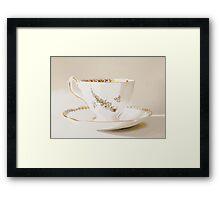 White Vintage Teacup Still Life Photography  Framed Print
