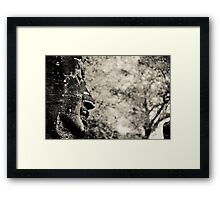 Buddha statue black and white Framed Print