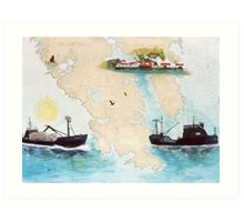 Alaska King Crab Fishing Boat EXITO Cathy Peek Nautical Chart Art Art Print