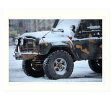 SUV in snow Art Print