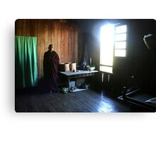 Monk in a monastery near lake Inle  Canvas Print