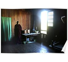 Monk in a monastery near lake Inle  Poster
