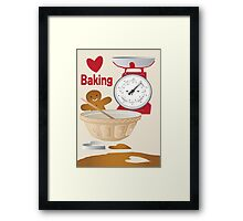 Love Baking Retro Style Poster Framed Print