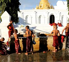 Young monks in Burma/ Myanmar by Peter Voerman
